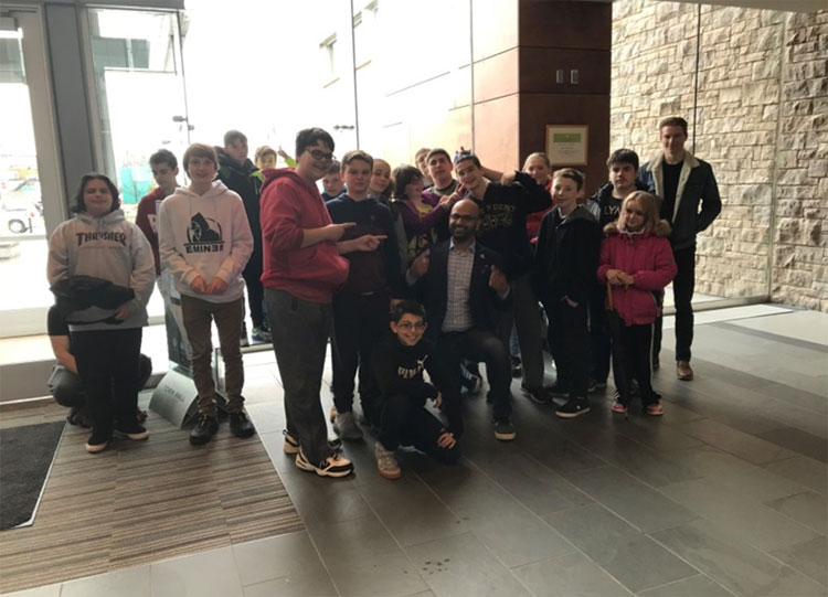 Students participating the Milton Town Hall tour
