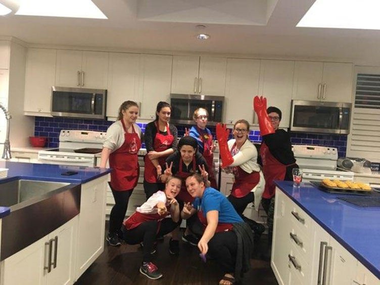 Students who baked cookies for families and children at Ronald McDonald House