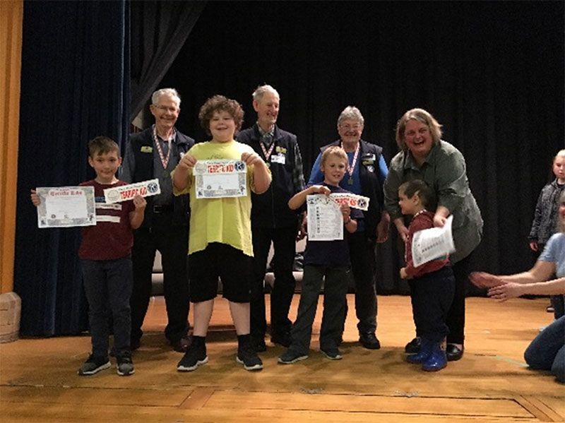 Figure 22: Students receiving their award for good citizenship at the Terrific Kid assembly