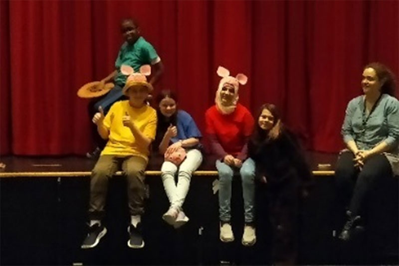 Figure 6: Students performing the 3 Little Pigs