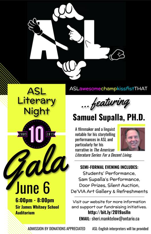 ASL literacy night flyer