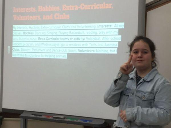 Student presenting