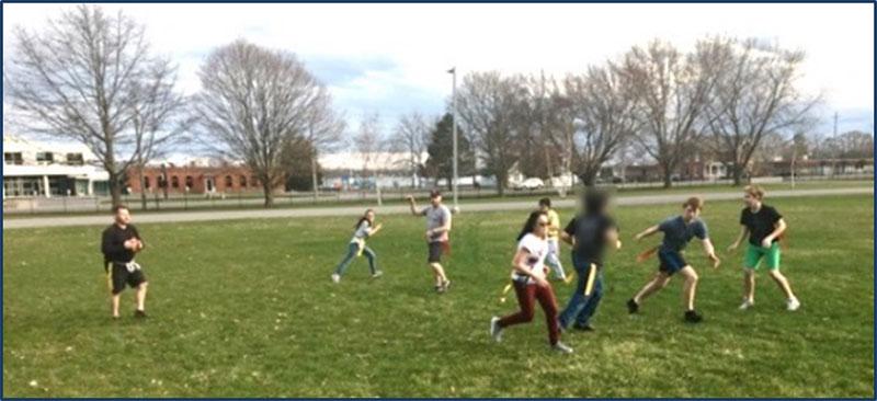 Figure 28 : Élèves jouant au flag football
